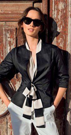 Camicia Elegante Nera Con Sciarpa E Chiusura A Fiocco NaraCamicie