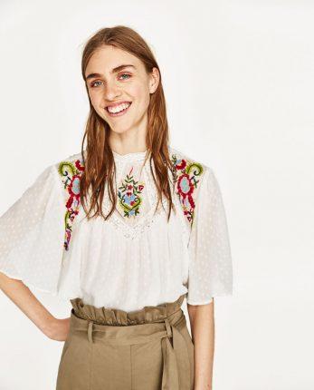 Camicia Etnica Ricamata Zara