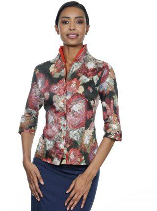 Camicia Multicolor Con Fiori Astratti E Collo Montante NaraCamicie