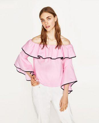 Camicia Ros Con Maniche Svasate Anni 70 Zara