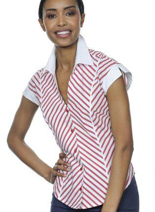 Camicia Rossa E Bianca All'americana Con Righe Diagonali NaraCamicie