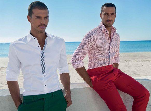 NaraCamicie Camicie Bianca Con Profili E Bottoni Blu E A Quadretti Bianca E Rossa