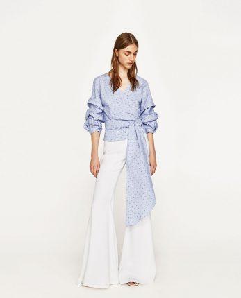 Pantalon I Svasati Bianchi E Blusa Con Laccio Zara