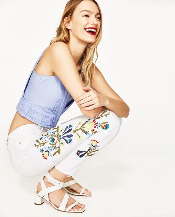 Pantaloni Bianchi Ricamati Zara