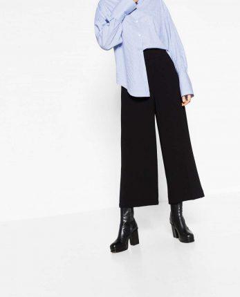 Pantaloni Culotte Neri Zara