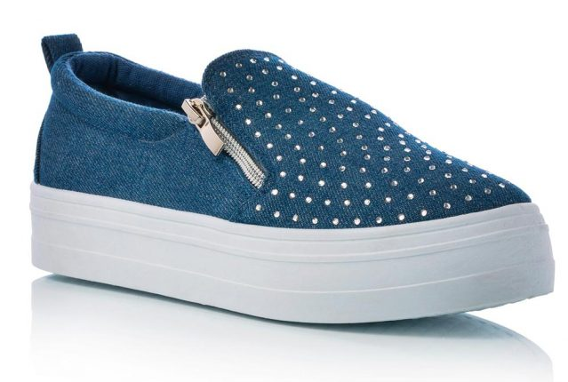 Slip On In Jeans Con Brillantini E Zip Laterali Ornamentali (24,90 Euro)