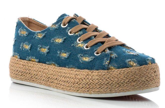 Sneaker Blu Jeans Con Glitter Oro E Suola A Cassetta In Paglia (costo 24,90 Euro)
