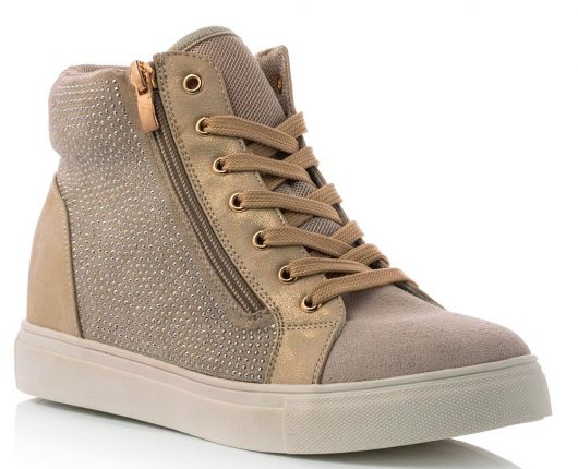 Sneakers In Similpelle Taupe Con Zip Laterale E Borchie (39,90 €)