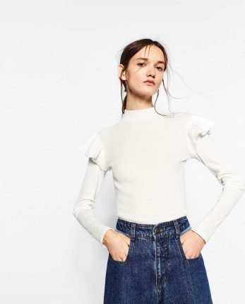 Top Bianco Con Rouches Zara