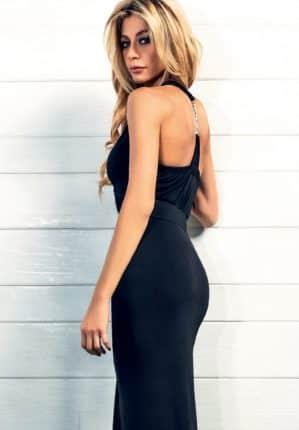 Vestito nero lungo talco