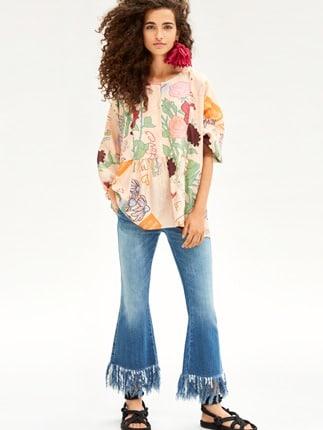 Pantaloni A Zampa Con Frange Beatrice B